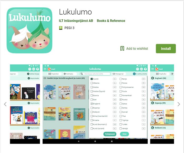 Lukulumo-sovellus nyt Android-tableteille.